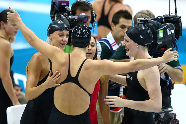 Olympics Day 8 - Swimming [swimmer,sports,recreation,swimming,personal protective equipment,individual sports,competition event,championship,endurance sports,medley relay,dana vollmer,allison schmitt,missy franklin,womens,rebecca soni,united states,aquatics centre,london,olympics]