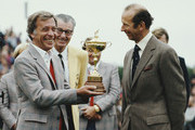 Dave Marr, captain of the United States team receives the Ryder Cup trophy from HRH Duke of Kent after United States team won the 24th Ryder Cup Matches by a score of 18½ to 9½ points on 27 September 1981 at Walton Heath Golf Club in Walton-on-the-Hill, Surrey, England, 1981.