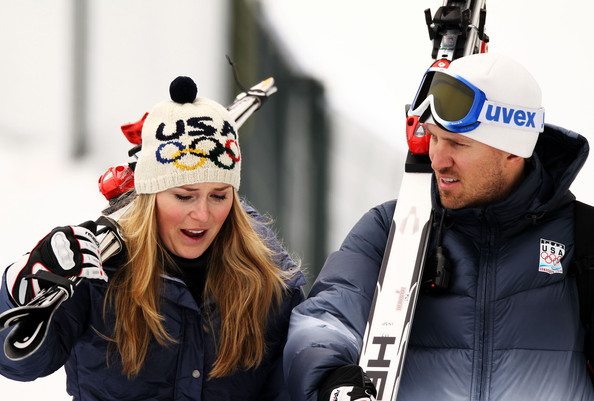 Lindsay Vonn of the USA talks with her husband Thomas Vonn after todays  training for the Alpine skiing Women's Downhill at Whistler Creekside during the Vancouver 2010 Winter Olympics on February 15, 2010 in Whistler, Canada.