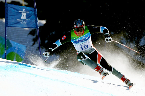 Aksel Lund Svindal of Norway competes in the men's alpine skiing Super-G on day 8 of the Vancouver 2010 Winter Olympics at Whistler Creekside on February 19, 2010 in Whistler, Canada.