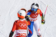 Tessa Worley (R) of France celebrates with Kristin Lysdahl of Norway during the Alpine Team Event Small Final on day 15 of the PyeongChang 2018 Winter Olympic Games at Yongpyong Alpine Centre on February 24, 2018 in Pyeongchang-gun, South Korea.