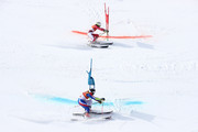 Tessa Worley of France (bottom) and Wendy Holdener of Switzerland compete during the Alpine Team Event semi final on day 15 of the PyeongChang 2018 Winter Olympic Games at Yongpyong Alpine Centre on February 24, 2018 in Pyeongchang-gun, South Korea.