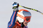 Chemmy Alcott of Great Britain finishes a run during the Alpine Skiing Women's Downhill on day 5 of the Sochi 2014 Winter Olympics at Rosa Khutor Alpine Center on February 12, 2014 in Sochi, Russia.