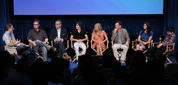 "Alyson Stoner (L-R) Moderator Michael Schneider, creator Dan Povenmire, co-creator/executive Jeff ""Swampy"" Marsh, actor Vincent Martella, actress Ashley Tisdale, actor Dee Bradley Baker, actress Alyson Stoner, and actor Mitchel Musso of the television show ""Phineas and Ferb"" speak during The Paley Center For Media's ""PaleyFest Family 2011"" on August 13, 2011 in Beverly Hills, California."