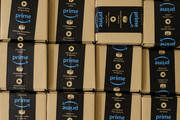 (EMBARGOED UNTIL 0001 GMT NOVEMBER 16) A close-up of a packaged Amazon Prime item in the Amazon Fulfilment centre on November 15, 2017 in Peterborough, England.  A report in the US has suggested that over half of all online purchases this Christmas will be made with Amazon.