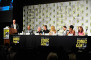 (L-R) IMDbÂ's Managing Editor Keith Simanton, creator Ben Watkins, actors Ron Perlman, Garret Dillahunt, Alona Tal, Julian Morris, Emayatzy E. Corinealdi.and Elizabeth Sarah McLaughlin speak onstage during Amazon Original Series 'Hand of God' Panel And Signing on July 9, 2015 in San Diego, California.