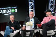 (L-R)  Executive producer Eric Overmyer, writer Michael Connelly executive producer Henrik Bastin sit on the panel for Bosch during the Amazon Winter 2016 Television Critics Association Session at Langham Hotel on January 11, 2016 in Pasadena, California.