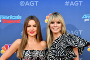 "(L-R) Sofia Vergara and Heidi Klum attend the ""America's Got Talent"" Season 15 Kickoff at Pasadena Civic Auditorium on March 04, 2020 in Pasadena, California."
