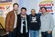 (L-R) Jeremy Jacobowitz, Adam Richman, Founder & CEO of Goldbelly, Joe Ariel  and Frank Luciano attend America's Greatest Sandwich Showdown during New York City Wine & Food Festival at Highline Stages on October 13, 2019 in New York City.