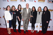 "(L-R) Dr. Marcela Maus, CFA co-founders Lisa Paulsen and Ellen Ziffren, Dr. Phillip A. Sharp, CFA CEO & President Sung Poblete, AA Executive VP, People & Communications Elise Eberwein and CFA co-founder Kathleen Lobb attend the American Airlines, Marvel Studios' ""Avengers: Infinity War"", Stand Up To Cancer event, unveiling customized American Airlines aircraft at Los Angeles International Airport on April 23, 2018 in Los Angeles, California."