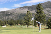 NFL athlete Aaron Rodgers of the Green Bay Packers putts on the 14th green during round one of the American Century Championship at Edgewood Tahoe South golf course on July 10, 2020 in Lake Tahoe, Nevada.