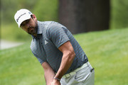 NFL athlete Aaron Rodgers of the Green Bay Packers putts on the third green during round one of the American Century Championship at Edgewood Tahoe South golf course on July 10, 2020 in Lake Tahoe, Nevada.