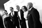 Image has been shot in black and white. Color version not available.) (L-R) President of TBS & TNT Productions & Business Affairs Sandra Dewey, President of TNT & TBS and Chief Creative Officer of Turner Entertainment Kevin Reilly, 46th AFI Life Achievement Award Recipient George Clooney, EVP of Original Programming at TNT Sarah Aubrey, and SVP of Unscripted Series & Specials at TBS & TNT Michael Bloom attend the American Film Institute's 46th Life Achievement Award Gala Tribute to George Clooney at Dolby Theatre  on June 7, 2018 in Hollywood, California.  389298