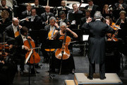 Conductor Zubin Mehta performs onstage with the Israel Philharmonic Orchestra at American Friends Of The Israel Philharmonic Orchestra Benefit Honoring Hans Zimmer at Wallis Annenberg Center for the Performing Arts on July 16, 2014 in Beverly Hills, California.