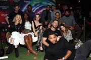 First Row (L-R) Bruce Langley, Demore Barnes, Avan Jogia and Gregg Araki second row (L-R) Kelli Berglund, Yetide Badaki, Roxane Mesquida, Omid Abtahi, Mousa Kraish, Ricky Whittle, Emily Browning, Pablo Schreiber and Ricky Whittle attend American Gods & Now Apocalypse Live Viewing Party At #TwitterHouse at Lustre Pearl on March 10, 2019 in Austin, Texas.