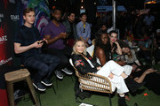 First Row (L-R) Bruce Langley, Demore Barnes, Avan Jogia and Gregg Araki second row (L-R) Kelli Berglund, Yetide Badaki, Roxane Mesquida, Emily Browning attend American Gods & Now Apocalypse Live Viewing Party At #TwitterHouse at Lustre Pearl on March 10, 2019 in Austin, Texas.