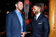 Pablo Schreiber and Ricky Whittle attend the American Gods Season Two Red Carpet Premiere Event on March 5, 2019 in Los Angeles, California.