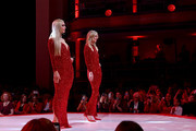 Paris Hilton and Nicky Hilton Rothschild walk the runway at The American Heart Association's Go Red For Women Red Dress Collection 2020 at Hammerstein Ballroom on February 05, 2020 in New York City.