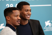 """Director Nate Parker and Shane Paul McGhie attend """"American Skin"""" photocall during the 76th Venice Film Festival at Sala Grande on September 01, 2019 in Venice, Italy."""