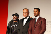 """Spike Lee, Alberto Barbera and Nate Parker walk the red carpet ahead of the """"American Skin"""" screening during the 76th Venice Film Festival at Sala Giardino on September 01, 2019 in Venice, Italy."""