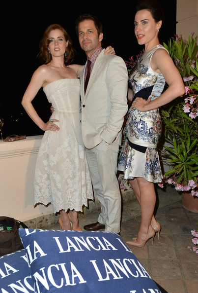 Celebrities At The Lancia Cafe - Day 1 - Taormina Filmfest 2013 [shoulder,dress,clothing,fashion,gown,beauty,lady,formal wear,event,joint,taormina filmfest,lancia cafe,taormina,italy,celebrities,zack snyder,antje traue,amy adams]