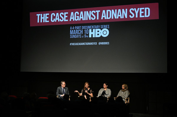NY Premiere Of HBO's 'The Case Against Adnan Syed' At Pure Nonfiction [the case against adnan syed,display device,projection screen,event,font,technology,led display,electronic device,projector accessory,stage,brand,laura estrada sandoval,amy berg,thom powers,rabia chaudry,pure non fiction,q a,ny,hbo,premiere]