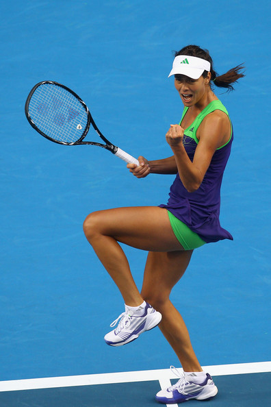 Ana Ivanovic Ana Ivanovic of Serbia celebrates a point in her first round match against Ekaterina Makarova of Russia during day two of the 2011 Australian Open at Melbourne Park on January 18, 2011 in Melbourne, Australia.