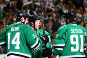 Cody Eakin #20 of the Dallas Stars celebrates his goal with Jamie Benn #14 and Tyler Seguin #91 against the Anaheim Ducks in the first period during Game Six of the First Round of the 2014 NHL Stanley Cup Playoffs at American Airlines Center on April 27, 2014 in Dallas, Texas.