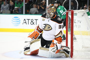 John Gibson #36 of the Anaheim Ducks at American Airlines Center on October 13, 2018 in Dallas, Texas.
