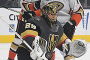 Marc-Andre Fleury #29 of the Vegas Golden Knights blocks an Anaheim Ducks' shot in the first period of their game at T-Mobile Arena on October 20, 2018 in Las Vegas, Nevada. The Golden Knights defeated the Ducks 3-1.