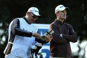 Justin Rose of England and caddy Mark Fulcher during the second round of the Andalucia Masters at Valderrama on October 28, 2011 in Sotogrande, Spain.