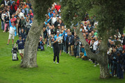 Lee Wewtwood of England plays into the 18th green during the completion of the weather affected second round of the Andalucia Valderrama Masters at Real Club Valderrama on October 20, 2018 in Cadiz, Spain.