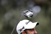 Edoardo Molinari of Italy hits their tee shot on the 11th hole during the resumption of the weather delayed first round on day two of Andalucia Valderrama Masters at Real Club Valderrama on October 19, 2018 in Cadiz, Spain.