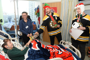 Anders Bjork Boston Bruins Celebrate the Holidays With Boston Children's Hospital Patients