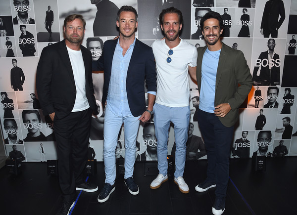Champions Wear BOSS [fashion,event,footwear,style,fashion design,suit,team,shoe,performance,premiere,champions,alex thomson,lucas di grassi,andre lotterer,jean-eric vergne,wear boss,l-r,new york city,champions wear boss]