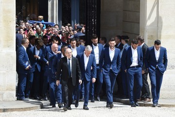 Andre-Pierre Gignac French President Francois Hollande Receives France Soccer Team At Elysee Palace in Paris