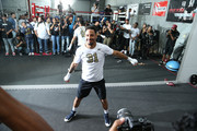Andre Ward stretches during an open media workout on June 2, 2017 in Hayward, California. Ward held a public workout in preparation for his upcoming rematch with Sergey Kovalev, whom he'll meet for a rematch on Saturday, June 17 in Las Vegas, Nevada at the Mandalay Bay Events Center.