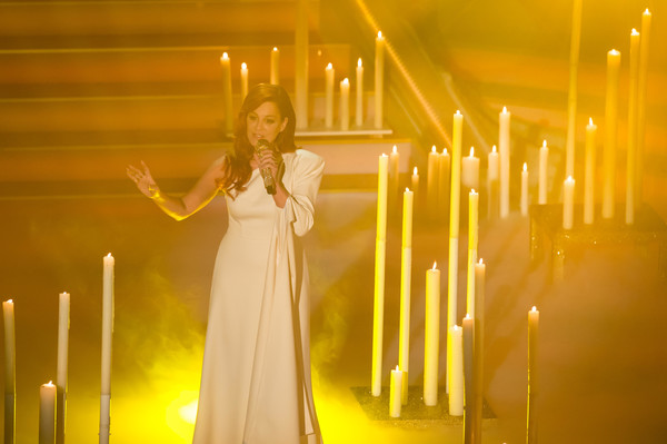 'Das Adventsfest der 100 000 Lichter' TV Show [tv show,andrea berg performs at,yellow,light,lighting,tv show on december 02,lichter,germany,suhl,adventsfest]