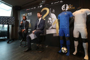 Andrea Pirlo (L) speaks to the media during a press conference to announce Andrea Pirlo farewell match on April 12, 2018 in Milan, Italy.