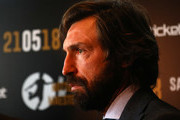 Andrea Pirlo speaks to the media during a press conference to announce Andrea Pirlo farewell match on April 12, 2018 in Milan, Italy.