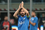 Andrea Pirlo greets the fans during Andrea Pirlo Farewell Match at Stadio Giuseppe Meazza on May 21, 2018 in Milan, Italy.