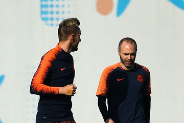 Andres Iniesta Barcelona Training And Press Conference