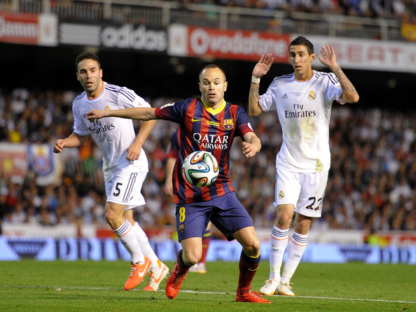 Real Madrid v Barcelona [player,sports,soccer,team sport,ball game,football player,sport venue,soccer player,sports equipment,product,real madrid,fc barcelona,real madrid v barcelona,c,between,r,valencia,spain,andres iniesta,daniel carvajal]