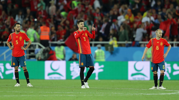 Spain Vs. Morocco: Group B - 2018 FIFA World Cup Russia [player,sports,soccer player,sport venue,sports equipment,team sport,ball game,football player,football,soccer,gerard pique,andres iniesta,sergio busquets,russia,spain,kaliningrad stadium,morocco,spain vs. morocco: group b - 2018 fifa world cup,2018 fifa world cup,group b match]