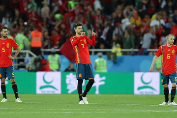 Andres Iniesta Gerard Pique Spain Vs. Morocco: Group B - 2018 FIFA World Cup Russia