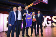 L to R , Jeff Van Groningen, Kings Managing Director, Andrew Gaze, Kings Coach, Andrew Bogut, Larry Kestelman, NBL Owner and Jeremy  Loeliger, NBL CEO, pose for photographs at a press conference to unveil Andrew Bogut  as a Sydney Kings player at Qudos Bank Arena on April 24, 2018 in Sydney, Australia.