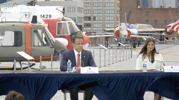 Intrepid Sea, Air & Space Museum Hosts Virtual Memorial Day Ceremony [vehicle,governor,michaela cuomo,andrew cuomo,screengrab,aircraft,aviation,intrepid sea,new york,air space museum\u00e2,air space museum hosts virtual memorial day ceremony,aircraft,aviation,dax daily hedged nr gbp]