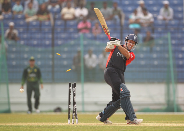 Andrew Strauss Andrew Strauss of England is bowled out during the 2011 ICC World Cup Warm Up Game between England and Pakistan at the Khan Shaheb Osman Ali Stadium on February 18, 2011 in Dhaka, Bangladesh.