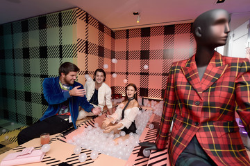 Andrew Warren Glenda Bailey And Katie Holmes Host The Launch Of The Saks IT List Townhouse In Partnership With American Express And Harper's BAZAAR