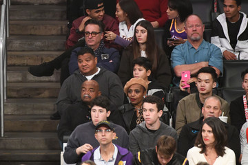 Andy Garcia Celebrities At The Los Angeles Lakers Game
